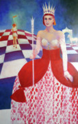 Chess Queen Painting Posters - White Queen Poster by Elena Bardina