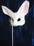 Alice In Wonderland Sculptures - White Rabbit Fairytale Mask by Julia Cellini Cellini