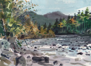 White River Painting Prints - White River in Autumn Print by Donald Maier