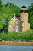Lake Michigan Painting Originals - White River Light Station by Andrew Jagniecki