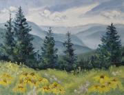 Shimmering Paintings - White River Valley Colorado by Zanobia Shalks