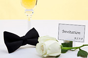 Sparkling Wine Photo Posters - White rose bow tie and invitation. Poster by Richard Thomas