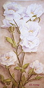 Knockout Paintings - White Roses by Evelyn Froisland