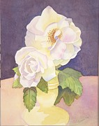 Hall Painting Prints - White Roses Print by Jeanne Hall
