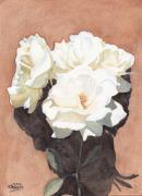 Botanical Painting Originals - White Roses by Ken Powers