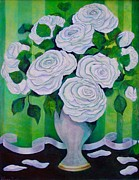Formal Flower Paintings - White Roses by Nin Nelson