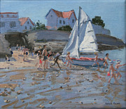 Paddling Posters - White sailboat Poster by Andrew Macara