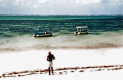 Boats On Water Digital Art Posters - White Sands of Mombasa Poster by Gwyn Newcombe