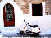 White Scooter Dreams Horizontal Print by Anthony Novembre