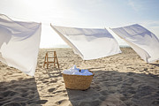 Sheet Framed Prints - White Sheets Hanging On Laundry Line At Beach Framed Print by Siri Stafford
