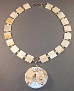 Handcrafted Jewelry - White Shell Lily Necklace  by Karen Elizabeth Bauguess