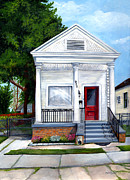 Suburban Paintings - White Shotgun House by Elaine Hodges