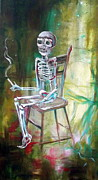 Dia De Los Muertos Framed Prints - White Skeleton Chair Framed Print by Heather Calderon