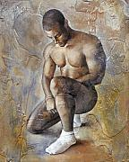 Male Nude Paintings - White Socks by Chris  Lopez