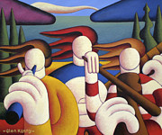 Stripped Paintings - White Soft Musicians In Landscape by Alan Kenny