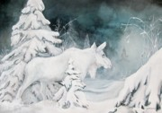 Winter Trees Mixed Media Posters - White Spirit Moose Poster by Nonie Wideman