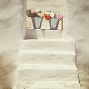 Greece Photo Prints - White Steps Print by Joana Kruse
