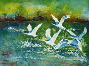 Waterscape Painting Metal Prints - White swans Metal Print by Zaira Dzhaubaeva