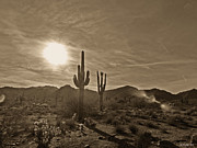 Southwestern Photograph Posters - White Tanks Sunset 2 Sepia Poster by Methune Hively