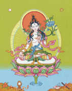 Tibetan Art Paintings - White Tara by Carmen Mensink