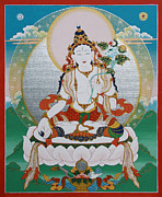 Rays Paintings - White Tara Chintamani Sita Tara by Sergey Noskov