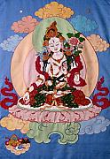 Fabric Tapestries - Textiles Prints - White Tara Print by Leslie Rinchen-Wongmo