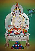 Thangka Prints - White Tara Print by Sergey Noskov
