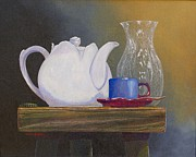 Bottle Cap Painting Posters - White Tea Pot Poster by David Bone
