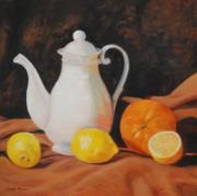 Pitchers Painting Prints - White Teapot Print by Jean Peace