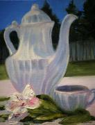 White Flowered Paintings - White Teapot by Lisa Konkol