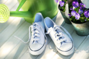 Watering Can Prints - White tennis running shoes Print by Sandra Cunningham