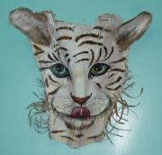 At Work Mixed Media Posters - White Tiger Poster by Ellen Burns