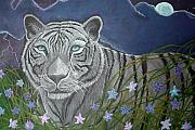 Tigers Paintings - White tiger in moonlight by Nick Gustafson
