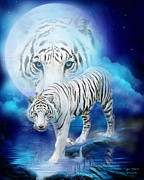 Cat Art Mixed Media Metal Prints - White Tiger Moon Metal Print by Carol Cavalaris