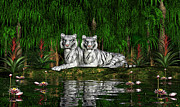 Bigcat Prints - White Tigers Print by Walter Colvin