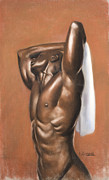 Male Pastels Originals - White Towel by L Cooper