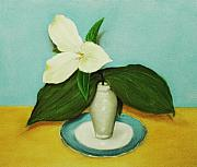 Vase Mixed Media Posters - White Trillium Poster by Anastasiya Malakhova