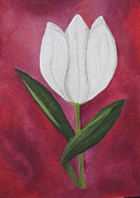 Big Tulip Prints - White Tulip Tattoo Print by Deborah Schuster