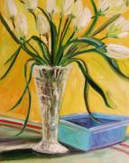 Portfolio Paintings - White Tulips in Cut Glass by John  Williams