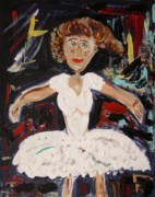 Dancing Girl Paintings - White Tutu by Mary Carol Williams