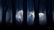Unicorns Posters - White Unicorns Poster by Virginia Palomeque