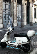 Gallery Wrap Prints - White Vespa Print by John Rizzuto