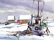 Fishing Boat Paintings - White Waiting by Art Scholz