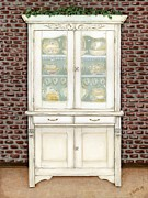 Brick Paintings - White Washed  Cupboard by Vicky Watkins