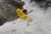 Susan Leggett Prints - White Water Kayaking Print by Susan Leggett