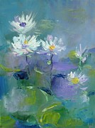 Demeter Gui Art - White water-lilies by Demeter Gui