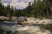 Cathedral Rock Photos - White Water Rapids Roll Over Rocks by Raymond Gehman