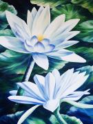 Waterlily Painting Metal Prints - White Waterlilies Metal Print by Barbara Eberhart - Printscapes
