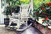 Patio Prints - White Wicker - Stockbridge MA Print by David Lloyd Glover
