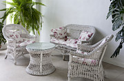 Wicker Furniture Posters - White Wicker Furniture Poster by Jaak Nilson